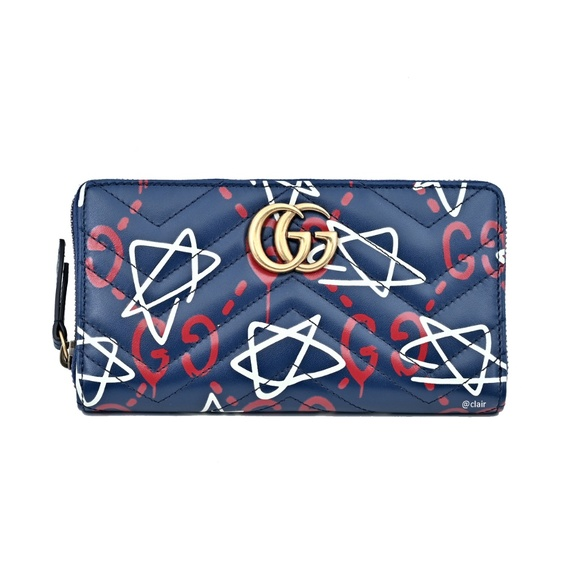 e153ae85733abf Gucci Bags | Blue Ghost Print Leather Zip Around Wallet | Poshmark